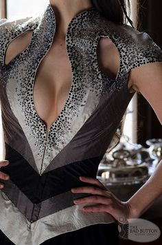 e43fdface2 Swallowtail Color Blocked Crystaled Corset Dress   by thebadbutton Custom  Corsets