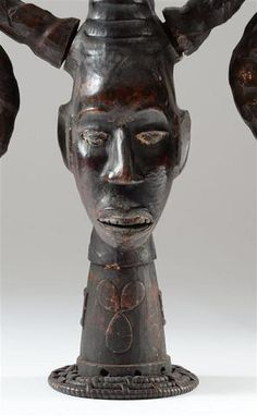 Ejagham Ngbe/Ekpa Headdress, Nigeria. Ekpe is a mysterious spirit who is supposed to live in the jungle and to preside at the ceremonies of the society. Members of the Ekpe society are said to act as messengers of the ancestors (ikan).