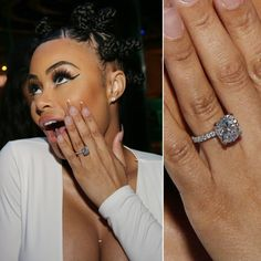Pin for Later: Ogle the Most Massive Celebrity Engagement Rings Blac Chyna Blac Chyna announced her engagement to Rob Kardashian in April 2016 by sharing a photo of her blindingly gorgeous 7-carat sparkler.