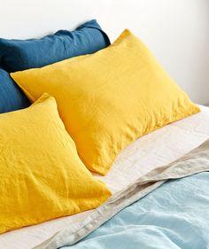 Yolk Linen Pillowslip Set. | http://www.huntingforgeorge.com