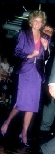 November 4, 1985: Princess Diana attending a Rock Concert in Melbourne, Australia wearing a suit designed by Bruce Oldfield.