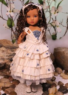 """Diana Effner's 13"""" Little Darling Sculpt #1 - Painted and Dressed by Magalie Dawson. MHD Designs """"Maria dressed in Roses Bleues"""". Maria is dressed in """"Roses Bleues"""" - a one of a kind ensemble • Maria is a Little Darling #1 in the limited edition darker skin tone. 