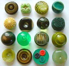 Assorted green buttons