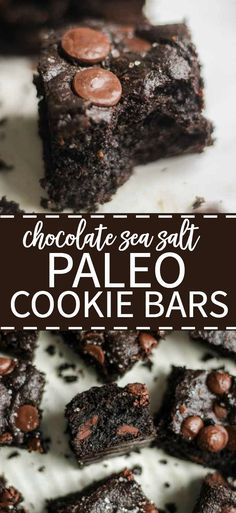 Thick and chewy, these paleo chocolate salted cookie bars are an easy dessert recipe that's guilt free and filled with lots of paleo chocolate.