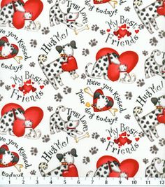 Novelty Cotton Fabric- Dogs & Hearts