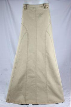 Golden Grace Long Khaki Skirt, Sizes 6-18: theskirtoutlet.com