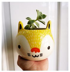 adorable Wolf planter by Mirubrugmann