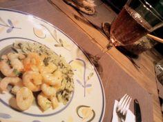 camarão e arroz com espinafre #nossacozinha