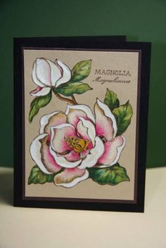 Magnolia by wishfulthinker - Cards and Paper Crafts at Splitcoaststampers Poppy Cards, Altenew Cards, Hand Stamped Cards, Magnolia Flower, Beautiful Handmade Cards, Simple Flowers, Color Card, Flower Cards, Scrapbook Cards