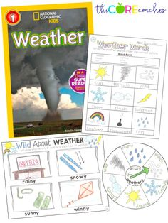 Weather Unit for Kindergarten and First Grade surrounded around National Geographic Kids Weather book.