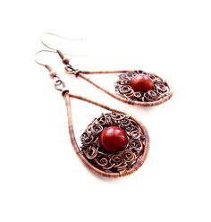 Autumn Red Coral Earrings Unique Coral Jewelry Coral by KicaBijoux