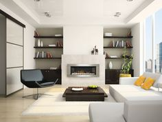 modern-white-sofa-with-modern-dark-coffee-table-and-black-rotate-chair-plus-flokati-rugs-and-lowes-wood-flooring-and-floating-bookshelves-for-modern-living-room-design