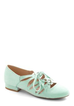 Sweets Strolling Flat in Mint. Youve made a map of each sweet shop and bakery in your area and - in keeping with your fanciful frosted feelings - you decide to don these mint lace-up flats for your excursion! #mint #modcloth