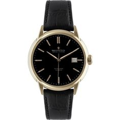 Dreyfuss & Co Men's Seafarer Automatic Leather Strap Watch , Black (17,355 MXN) ❤ liked on Polyvore featuring jewelry, watches, accessories, bracelets, black, black leather wrist watch, black jewelry, black bear jewelry, leather watches and holiday jewelry
