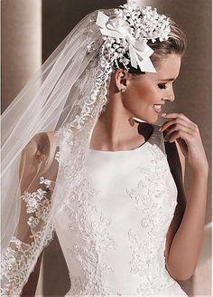 Elegant Satin Jewel Neckline A-line Wedding Dresses with Beaded Lace Appliques