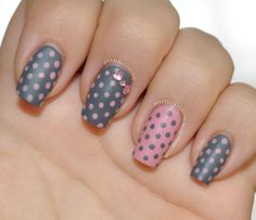 31dc2013 31 day nail art challenge - Polka Dots Matte dusty rose pink and grey polka dot with rhinestone bow