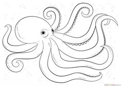 Cartoon Octopus coloring page Free Printable Coloring Pages Art Lessons, Octopus Art, Octopus Coloring Page, Animal Drawings, Drawings, Drawing Tutorial, Octopus Drawing, Octopus Painting, Step By Step Drawing