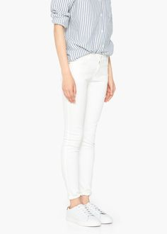 Skinny-fit Mid-rise Five pockets Belt loops Zip and button Jeans Skinny, Skinny Fit, Wardrobe Staples, Capsule Wardrobe, White Jeans, My Style, Jeans Women, Outfits, Clothes