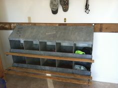 Cubby for everyone! Old metal chicken nesting box
