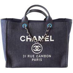 Pre-owned CHANEL bag DEAUVILLE tote 2015 NAVY Leather top Handle (21.565 BRL) ❤ liked on Polyvore featuring bags, handbags, tote bags, handbags and purses, totes, navy blue tote, navy blue purse, leather tote bags, chanel handbags and chanel tote