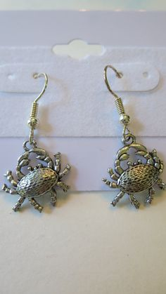 Silver Crab Earrings Crab Dangle Earrings by SerenityoftheSouth