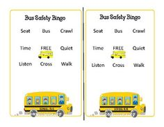 """A fun, everybody wins bingo over bus safety! First page includes original bingo card template with adorable bus border from pageborders.org. The second page includes the """"key/script"""" for the teacher to read for students. Feel free to replace the words or Bingo Card Template, Bingo Cards, Bus Safety, First Page, Script, Students, Teacher, Key, Professor"""
