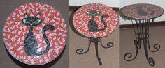 Cat wrought iron mosaic table Red by EleonoraIlieva.deviantart.com on @deviantART