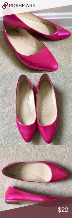 Nine West Hot Pink Patent Leather Ballet Flats Nine West hot pink patent leather pointed toe flats in great condition Nine West Shoes Flats & Loafers