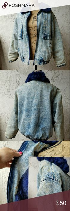 """Jean jacket w/dark blue rabbit fur lining One of the warmest jackets you""""ll ever wear.. thick denim lined with blue rabbit fur, this has kept me so warm over the years but it just no longer fits.... it was vintage when I got it and as you can see from the photos there is some brownish spotting on it... some of the fur has signs of wear around the elasticized waistband.... zipped up and laid flat it measures approximately 25"""" from armpit to armpit and 25"""" from the shoulder seam to the hem,I…"""
