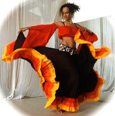 Belly Dance Costume Set ROSITA - black Flamenco Gypsy style skirt with red orange yellow bands and matching Gypsy top with beaded belt.