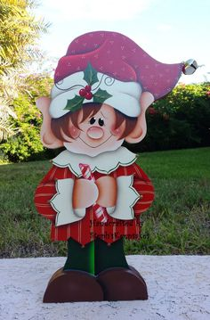 Hand painted Holiday Elf , Chistmas deciratin, wooden elf LARGE, Christmas…