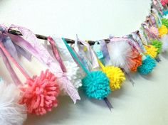 Super Happy Colorful Pompoms and Ribbons Garland
