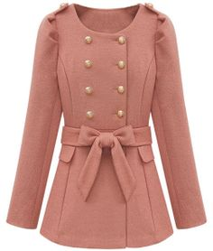 $ 63.99 High-Quality Woolen Waist Bow Knot Long Coat