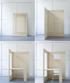"""FLKS / Collapsible plywood workspace by Kapteinbolt. Might be great for city apartment. Just fold up your office when you """"go home."""""""