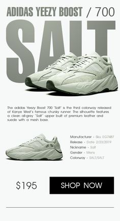 reputable site debcc 3b36c Adidas Yeezy Boost 700 Salt shoes