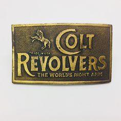 1970s Colt Revolvers Metal Brass Belt Buckle Napoleon Empereur Logo Mark #Colt Brass Belt Buckles, Revolver, Western Wear, Logos, Metal, Acre, 1970s, Corgi, Antiques