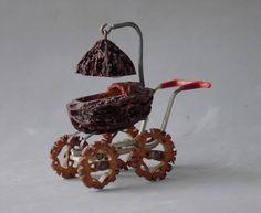 Walnut Shell Miniature Carriage Buggy Stroller Folk Art Signed Gerdes 1940 Pekin