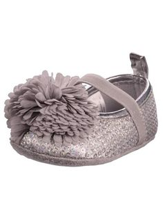 Baby Girl Silver Sequin Mary Jane Dress Shoes with Flower Puff by Stepping Stones - Metallic - 4 Infant / 9 Mths-12 Mths