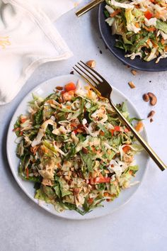 "This tasty Thai Crunch Salad is packed with crisp veggies and a simple allergy-free ""peanut"" sauce that will have everyone begging for seconds! Vegan and gluten-free."