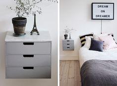 19 ideas bedroom scandinavian diy bedside tables for 2019 Blue Bedroom, Trendy Bedroom, Bedroom Colors, Room Ideas Bedroom, Bedroom Layouts, Bedroom Decor, New Beds, Diy Interior, Dresser As Nightstand