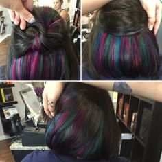 Peekaboo color or hidden color, Mermaid Hair by Deanna Henning @ Studio_M Salon ., mermaid hair Peekaboo color or hidden color, Mermaid Hair by Deanna Henning @ Studio_M Salon . Mermaid Hair Brunette, Brunette Hair, Hidden Hair Color, Cool Hair Color, Peekaboo Hair Colors, Oil Slick Hair, Underlights Hair, Ombre Highlights, Rainbow Hair Highlights
