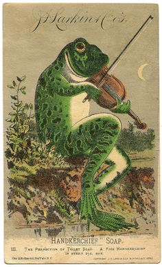 Humourous frog print to save and use scrapping or in altered art. *The Graphics Fairy LLC*: Vintage Image - Fabulous Frog with Violin Graphics Fairy, Vintage Ephemera, Vintage Postcards, Frosch Illustration, Frog Art, Images Vintage, Illustrations, Vintage Prints, Vintage Artwork