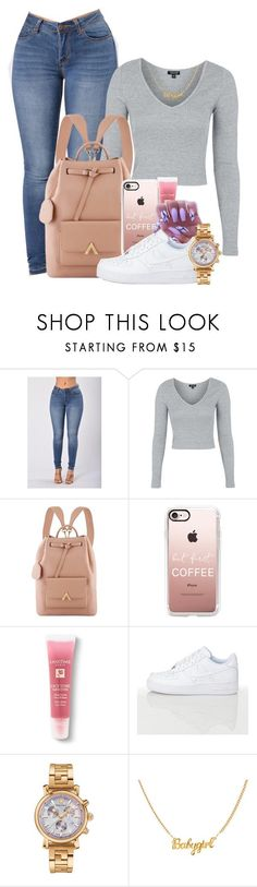 """""""Untitled #1665"""" by melaninprincess-16 ❤ liked on Polyvore featuring Topshop, Casetify, Lancôme and Versace"""