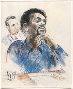 This is Bobby Seale at the trial in New Haven. Courtroom Sketch, Bobby Seale, Today In Black History, African American Studies, Black Panther Party, Famous Black, African History, Drawing People, Black Art