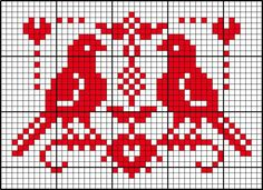 This is another sample pattern that could be included on a Scandinavian style blanket. Cross Stitch Needles, Cross Stitch Bird, Beaded Cross Stitch, Cross Stitch Animals, Cross Stitch Designs, Cross Stitching, Cross Stitch Embroidery, Cross Stitch Patterns, Cross Stitch Freebies