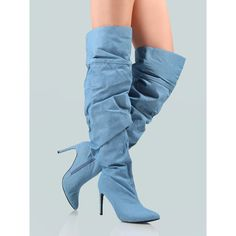 Oversized Slouchy Denim Thigh Boots DENIM ($56) ❤ liked on Polyvore featuring shoes, boots, blue, blue stilettos, over-knee boots, over-the-knee boots, over the knee thigh high boots and blue thigh high boots