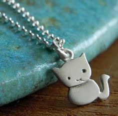 Cat necklace pendant in sterling silver by Fingerprince on Etsy, $33.00