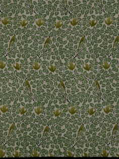 Craftsman upholstery fabric. This roller-printed linen furnishing fabric depicts birds flying and roosting in trees. C. F. A. Voysey designed it for G. P. & J. Baker in 1905. Voysey was one of the most original and influential architects and designers of all forms of decorative art working at the end of the 19th century. In 1882 he set up his own architecture practice. From the late 1880s he started to design repeating patterns for wallpaper, woven and printed textiles and carpets.