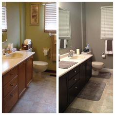 idea for master bath.Bathroom makeover: general finishes java gel stained cabinets (from honey oak), new door, painted from white, Benjamin Moore gray paint Oak Bathroom Cabinets, Oak Cabinets, Rubber Duck Bathroom, Moving New House, Java Gel Stains, Staining Cabinets, Room Colors, General Finishes, Bath Ideas