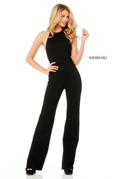 f33e70445ef7 Sherri Hill 52392 is a sleeveless stretch scuba jumpsuit with sheer sides.  Unique Prom Dresses